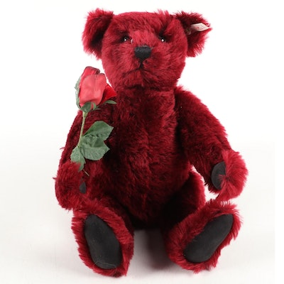 "Steiff Dark Red ""Dew Drop Rose"" Mohair Teddy Bear, 1999"