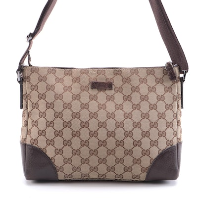 Gucci Joy Messenger in GG Canvas and Textured Leather