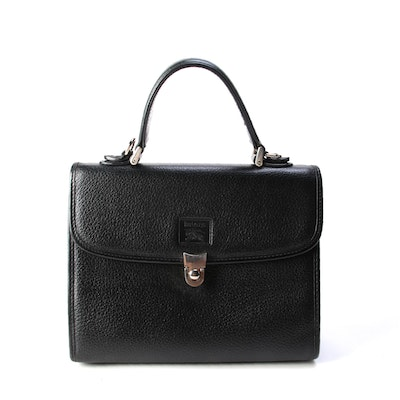 "Burberry Two-Way Bag in Black PVC with ""Haymarket Check"" Lining"