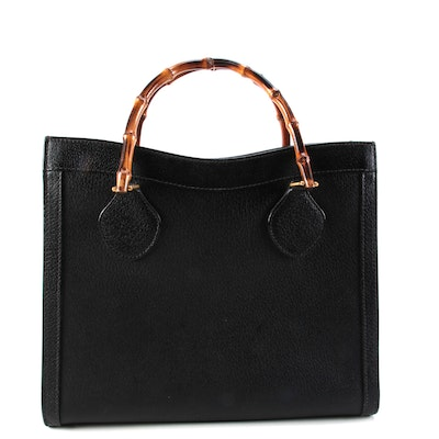Gucci Bamboo Tote in Black Leather