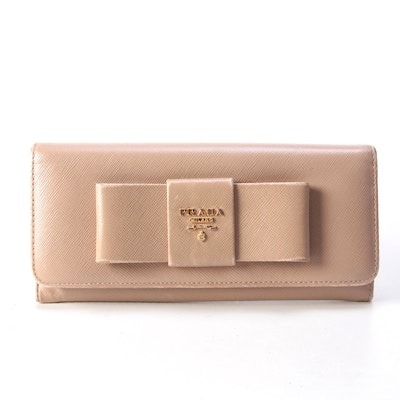 Prada Continental Bow Wallet in Cammeo Saffiano Leather with Box