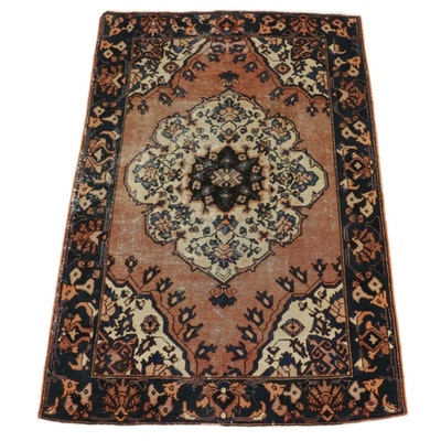 4'6 x 6'8 Hand-Knotted Persian Hamadan Area Rug, Mid-Late 20th Century