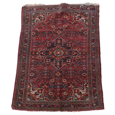 3'6 x 5'1 Hand-Knotted Persian Hamadan Wool Area Rug