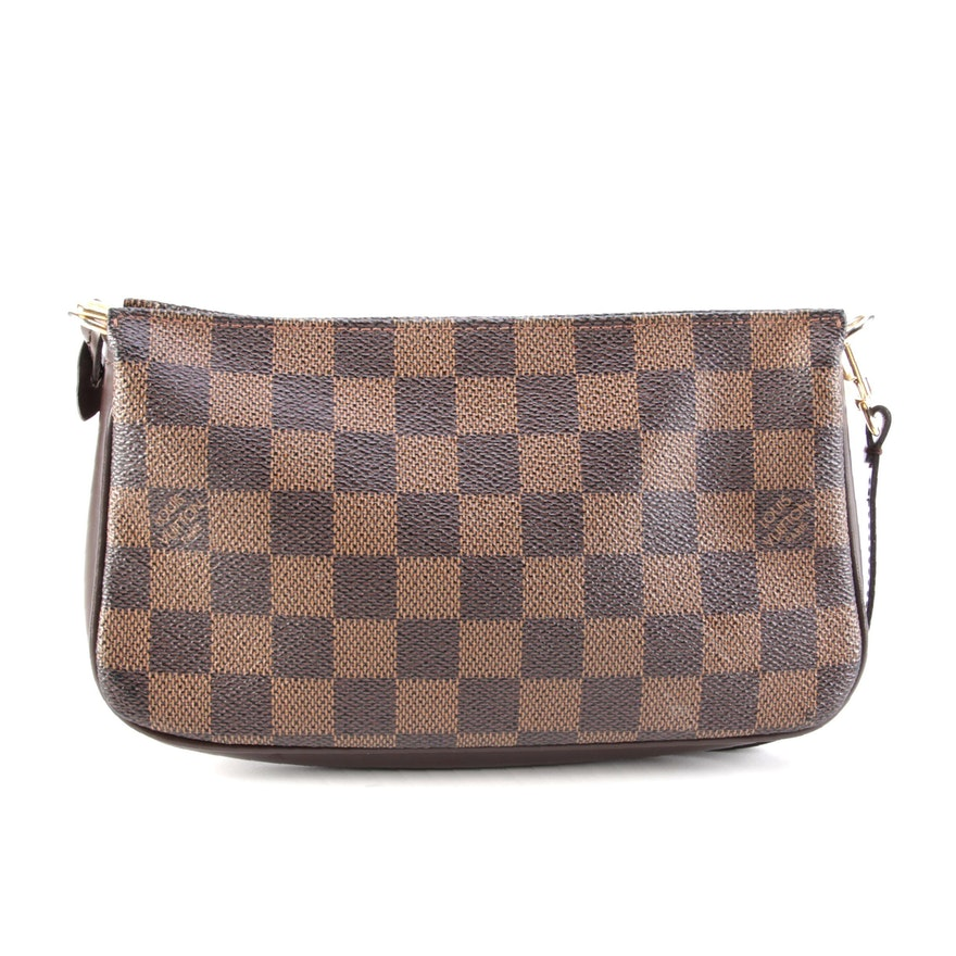 Louis Vuitton Navona Pochette Bag in Damier Ebene Coated Canvas and Leather