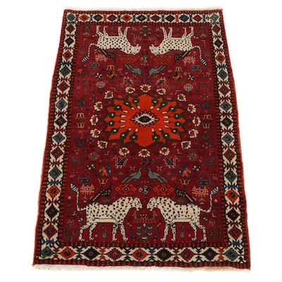 4'2 x 6'5 Hand-Knotted Persian Qashqai Pictorial Area Rug
