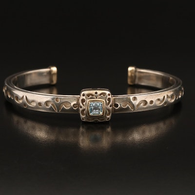 Sterling Topaz Cuff with 18K Accents