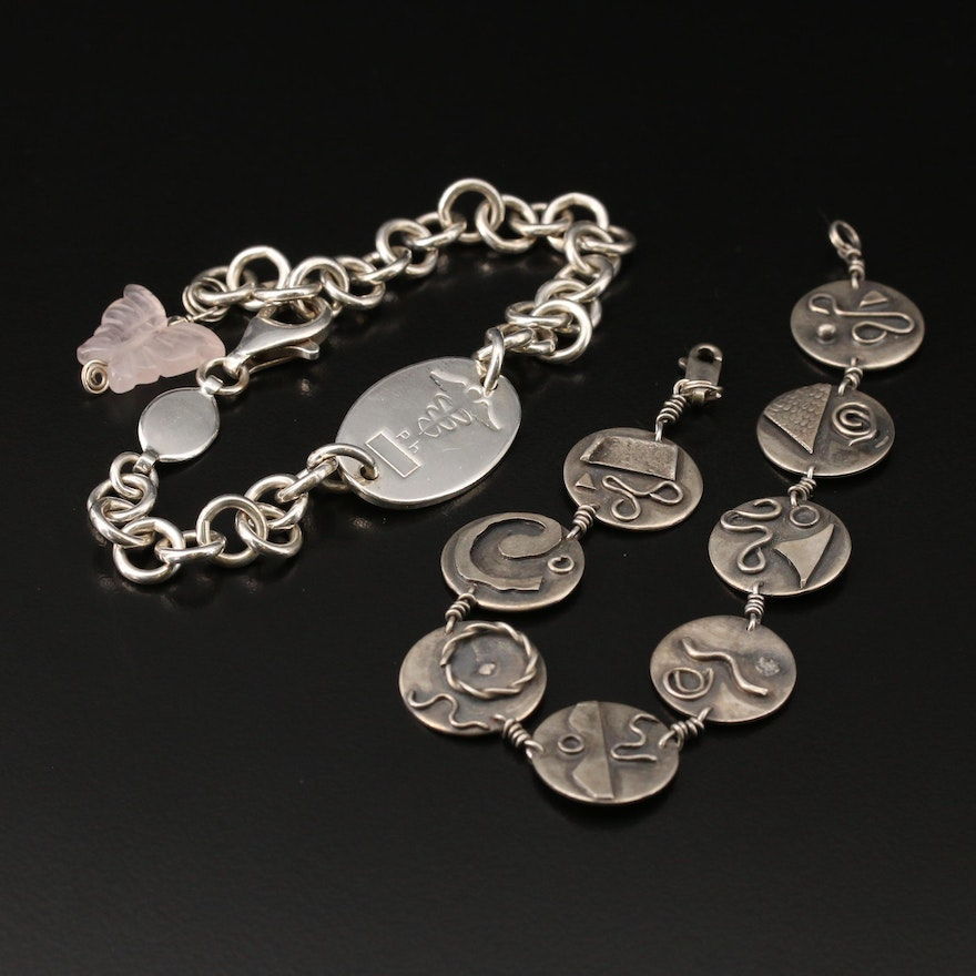 Sterling Bracelets Featuring Rose Quartz and Caduceus ID Bracelet