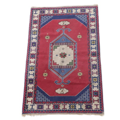 2'10 x 4'11 Hand-Knotted Turkish Konya Wool Area Rug