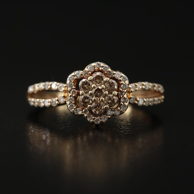 10K Diamond Flower Ring