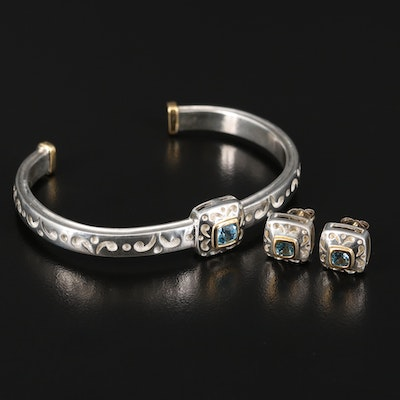 Sterling Topaz Bracelet and Earring Set with 18K Accents