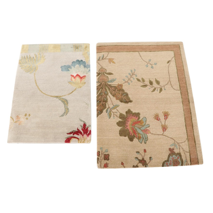 2'0 x 2'11 Hand-Knotted Nepalese Wool and Silk Accent Rugs