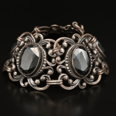 Danecraft Sterling Hematite Panel Bracelet