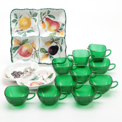 "Anchor Hocking ""Charm"" Coffee Cups with Italian Hand-Painted Serveware"