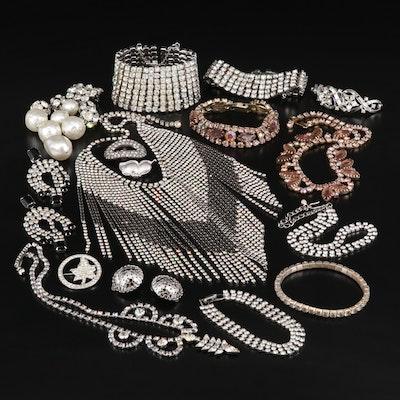 Rhinestone Costume Jewelry Featuring Krementz Sterling Butterfly Brooch