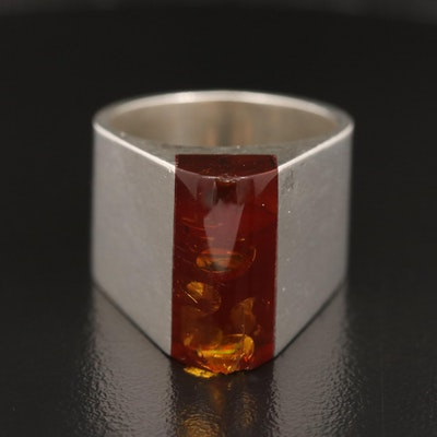 Polish Modernist Sterling Amber Ring