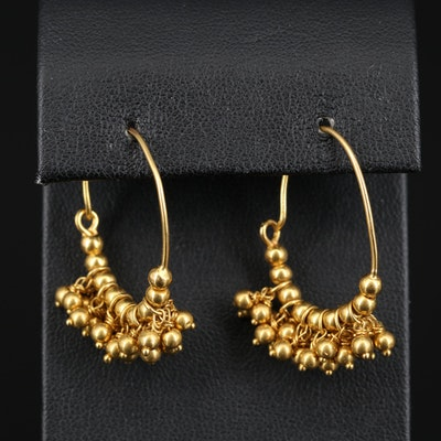 18K Beaded Hoop Earrings