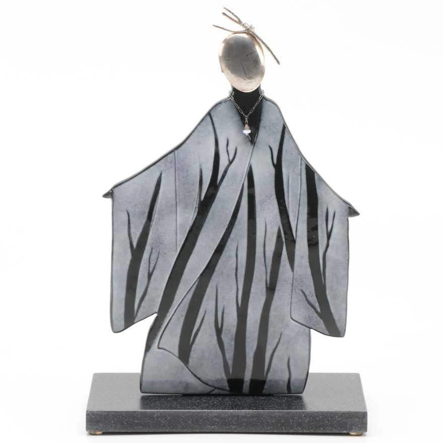 Sterling Silver on Fused Glass Figural Sculpture Attributed to Kathleen Eggert