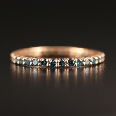 14K Blue Diamond Eternity Band