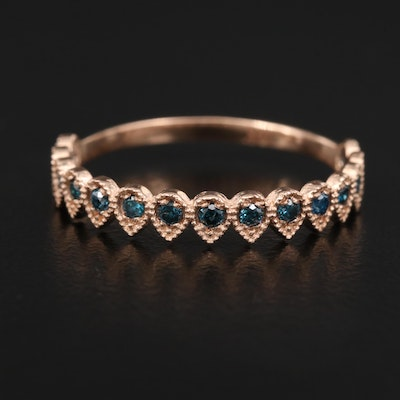14K Rose Gold Blue Diamond Band