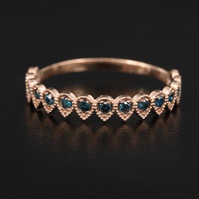 14K Rose Gold Blue Diamond Band
