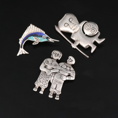 Sterling Silver Brooch Selection Featuring Mexican Enamel Marlin Brooch