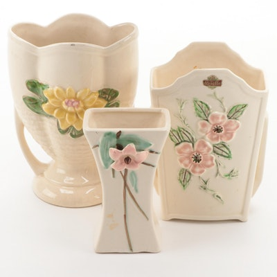 """Hull Pottery """"Water Lily"""" and """"Rosella"""" with McCoy """"Blossom Time"""" Vases"""