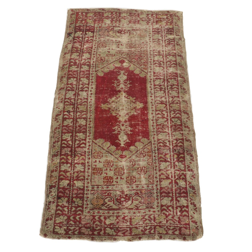 3'7 x 6'8 Hand-Knotted Turkish Village Area Rug, 1920s