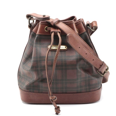 Polo Ralph Lauren Plaid Coated Canvas Drawstring Bag