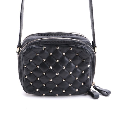 Valentino Rockstud Spike Black Quilted Nappa Leather Double Zip Mini Camera Bag