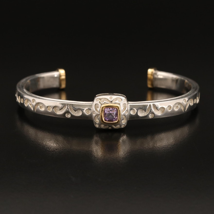 Sterling Amethyst Cuff with 18K Accents