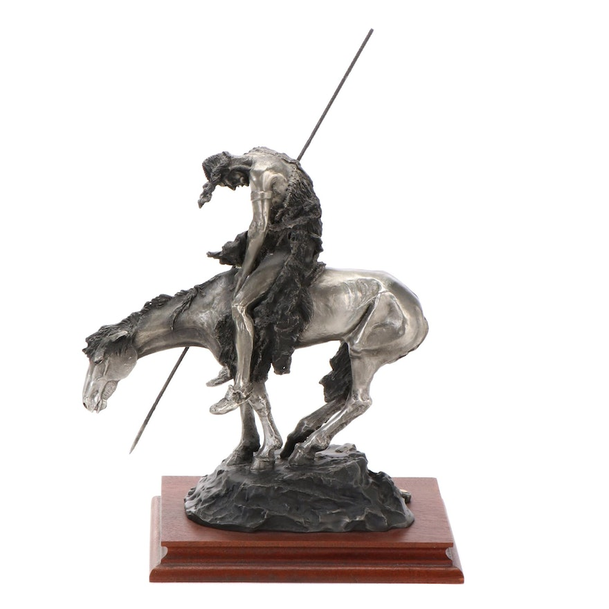 """Chilmark Pewter Sculpture after James Earle Fraser """"End of the Trail"""""""
