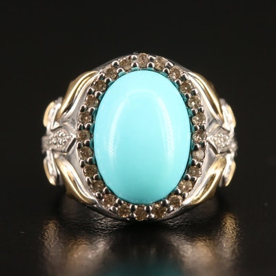 14K Turquoise and Diamond Halo Ring with Cross Motif