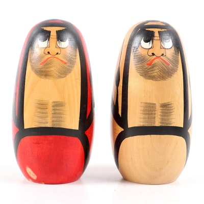 Japanese Hand-Painted Wooden Kokeshi Daruma Dolls, Late 20th Century