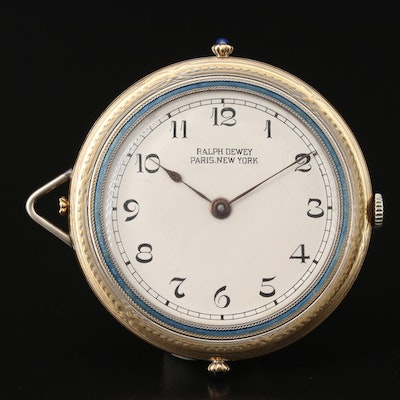Vintage Art Deco Ralph Dewey 18K and 14K Gold Pocket Watch with Enamel Accents
