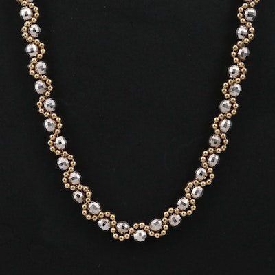 14K Gold  Two-Tone Bead Chain Necklace