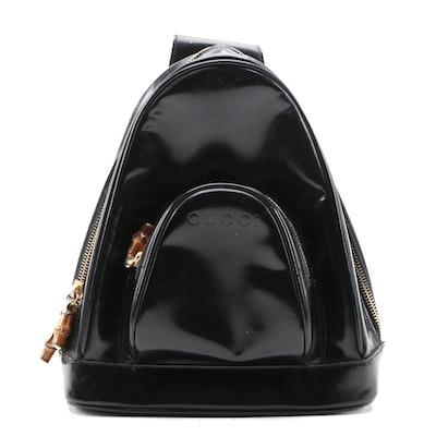 Gucci Bamboo Black Patent Leather Sling Bag