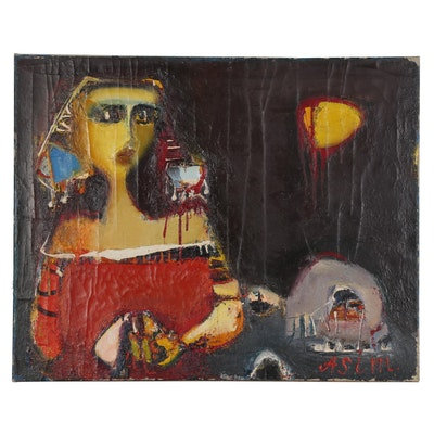 "Asim Rasulovich Samedov Oil Painting ""Girl from Shagani"""