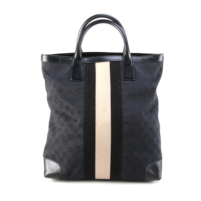 Gucci Web Tall Tote in Black GG Canvas with Leather Trim