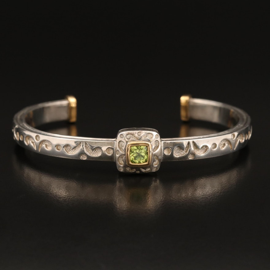 Sterling Peridot Cuff with 18K Accents