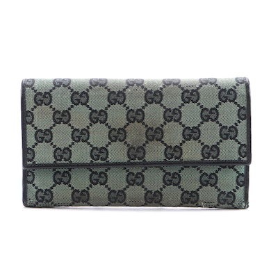 Gucci GG Canvas Wallet with Black Leather Trim