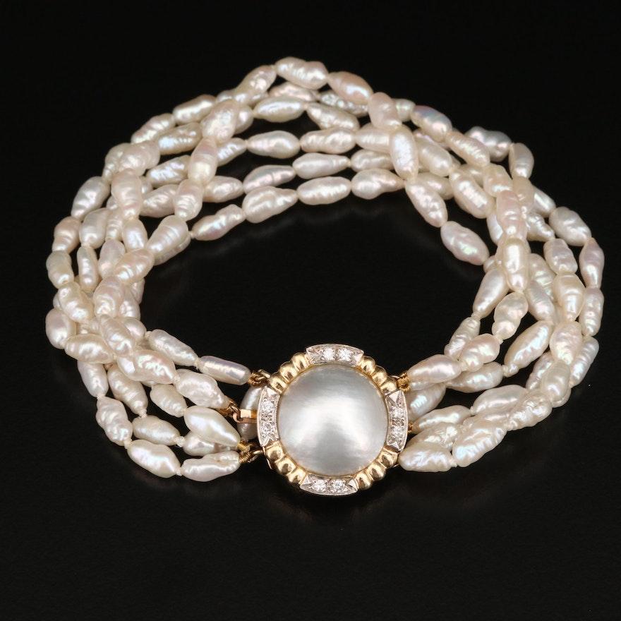 Multi-Strand Pearl Bracelet with 14K Diamond Clasp