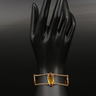 14K Oval Faceted Glass Chain Link Bracelet