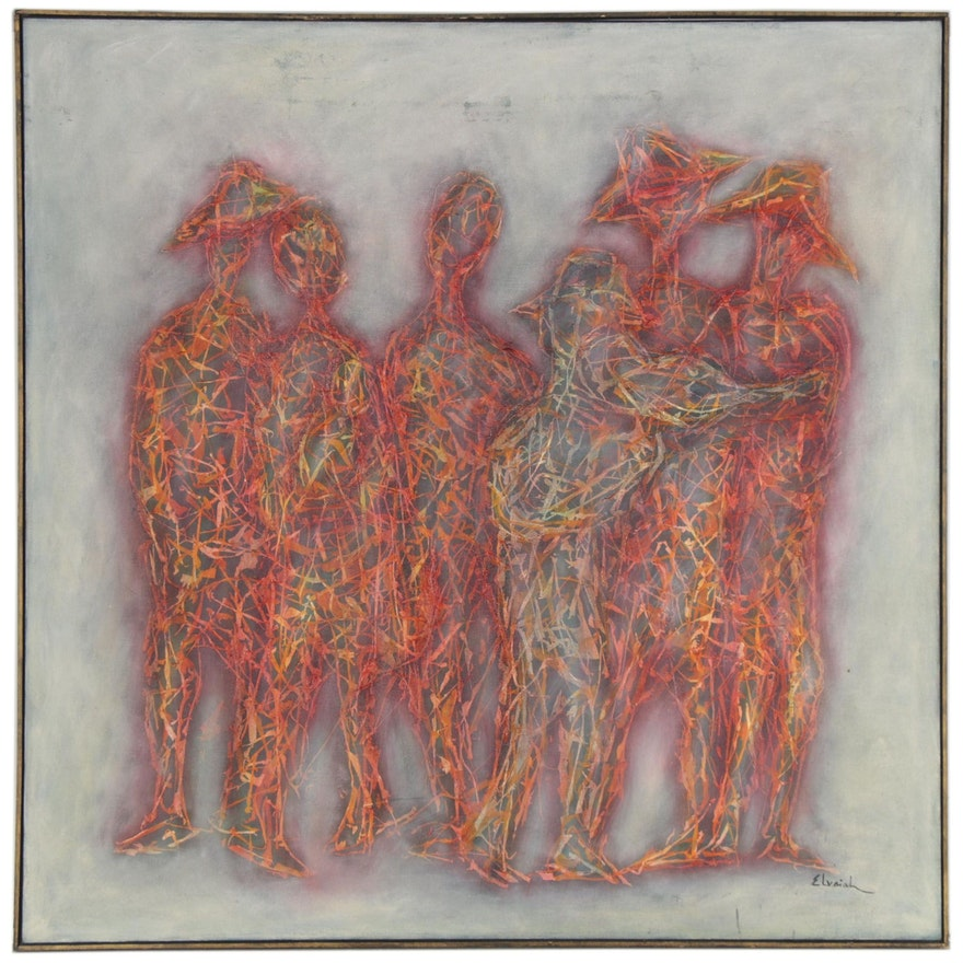 """Ahron Elvaiah Oil Painting """"The Group,"""" 1967"""