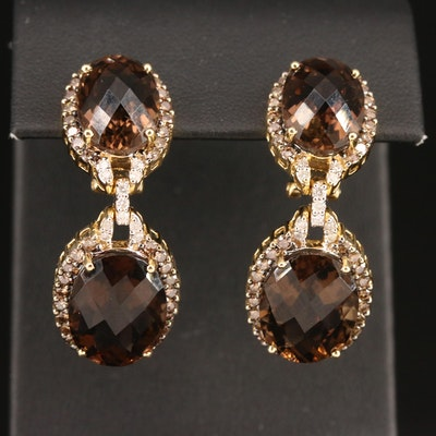 14K Smoky Quartz and 1.56 CTW Diamond Halo Drop Earrings