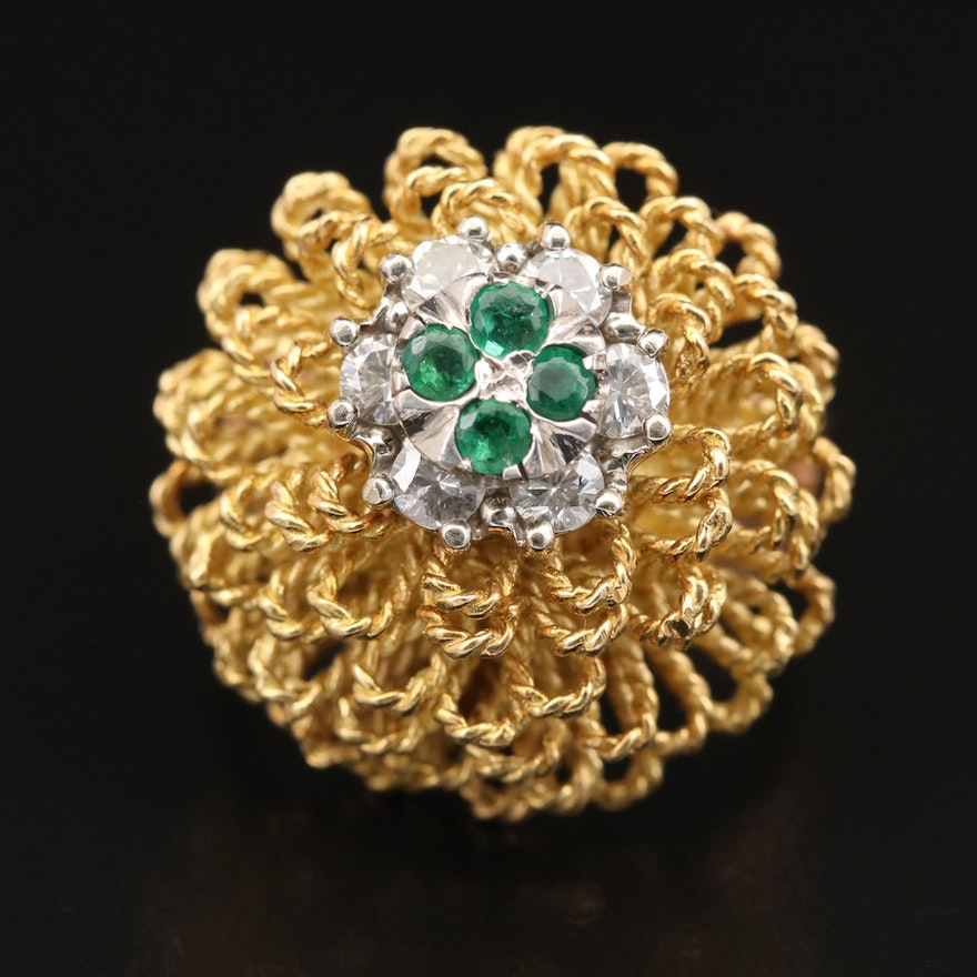 14K and 18K Emerald and Diamond Ring with Palladium Accents