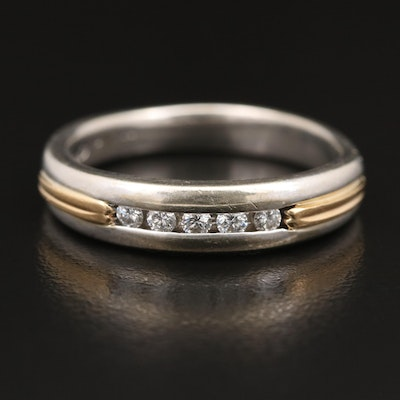 Two Tone 14K Diamond Band