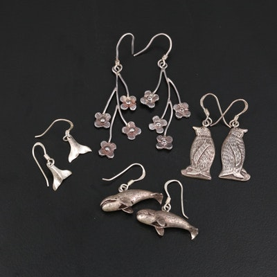 Sterling Silver Whale, Penguin, Whale Tail and Flower Earrings