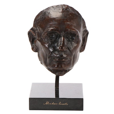 Abraham Lincoln Bronze Life Mask after Leonard Wells Volk