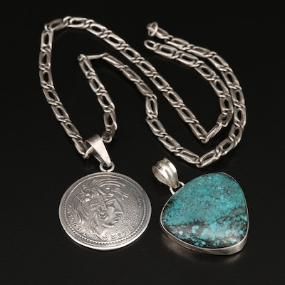 Sterling Turquoise and Mayan Style Pendants with 800 Silver Chain