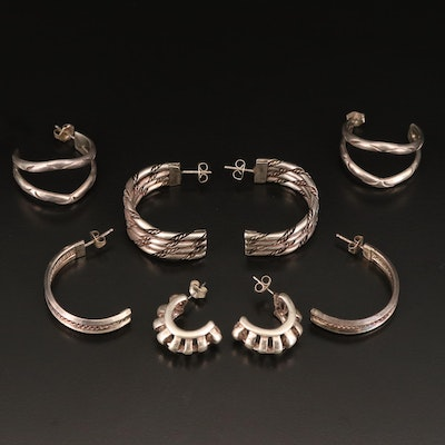 Sterling Half Hoop Earrings